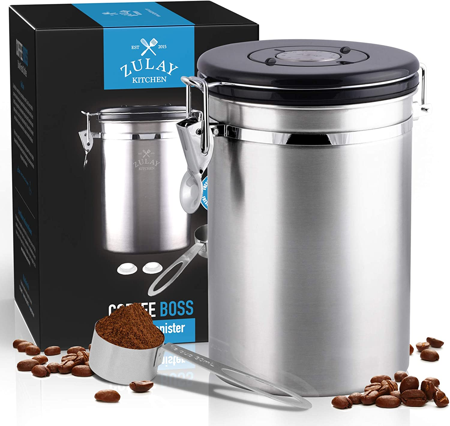 Stainless Steel Coffee Storage Canister with Scoop